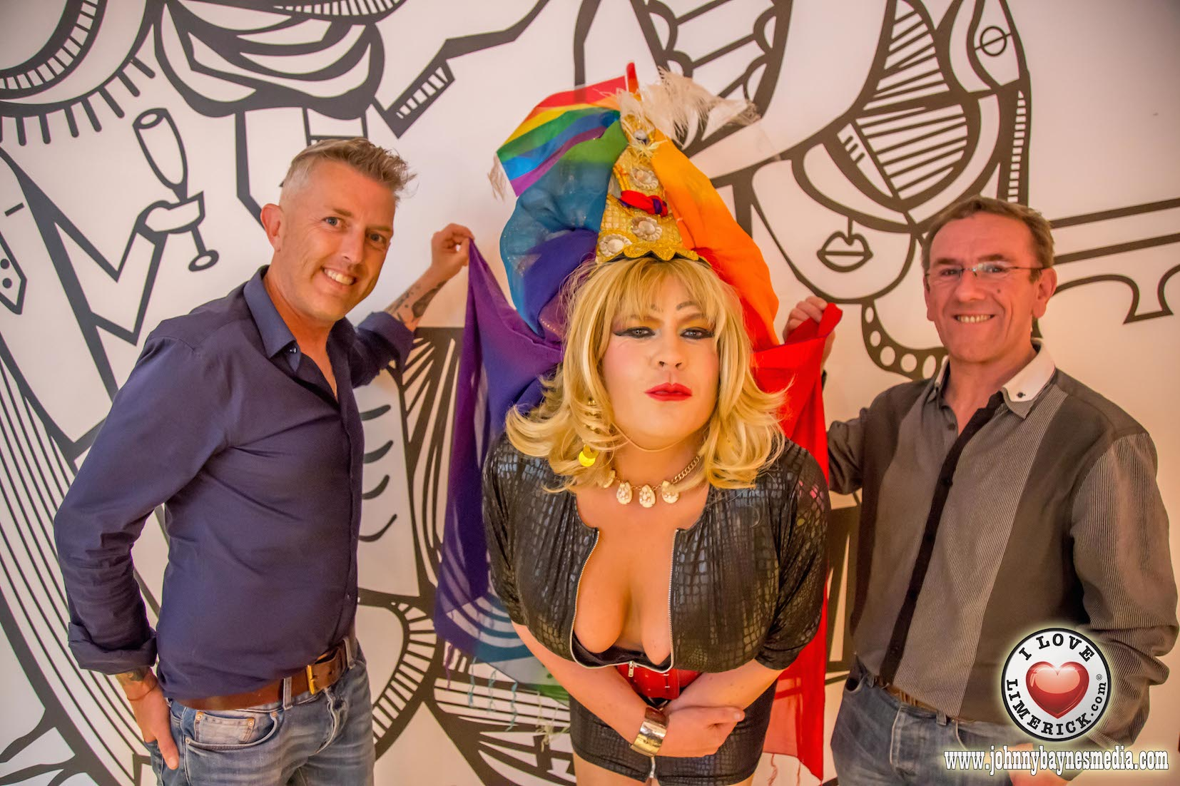 Eddie Mooney, Elsie Cox and Noel Deveraux, Strokers Bar at the press launch for Limerick LGBTI Pride Festival 2016 at the George Boutique Hotel. Picture: Johnny Baynes/ilovelimerick