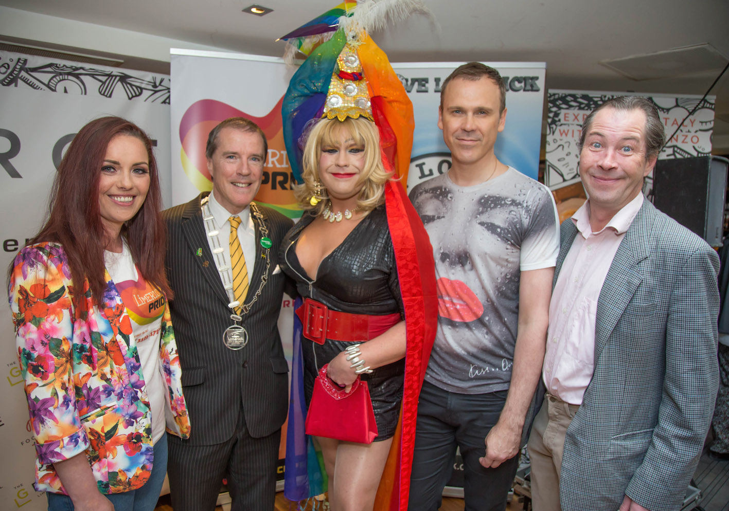 Lisa Daly, Chairperson Limerick LGBTI Pride 2016, Gerald Mitchell, Deputy Mayor of Limerick, Elsie Cox, Strokers Gay Bar, Richard Lynch, PRO Limerick LGBTI Pride 2016 and actor Myles Breen pictured at the press launch for Limerick LGBTI Pride Festival 2016 at the George Boutique Hotel. Picture: Johnny Baynes/ilovelimerick.